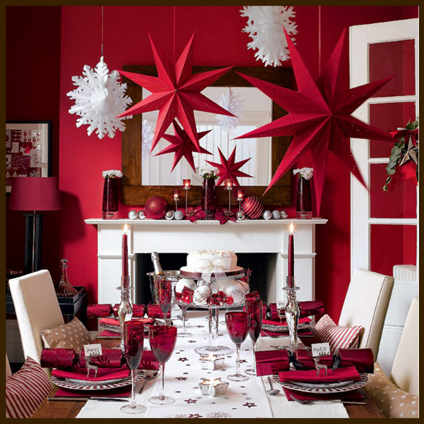 appealing-interior-featured-red-and-white-christmas-decoration-with-hanging-snow-and-star-ideas-915x915
