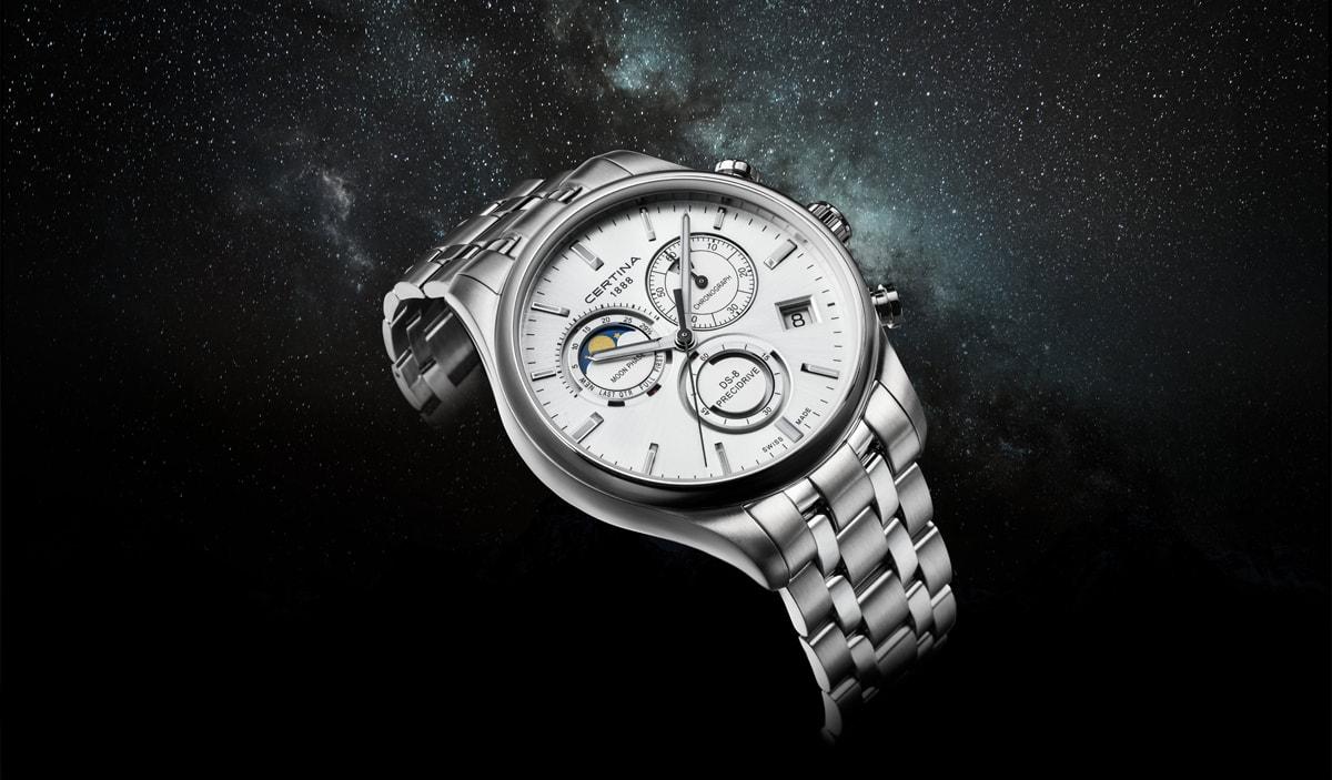 certina-moon-phase-zegarek-na-bransolecie