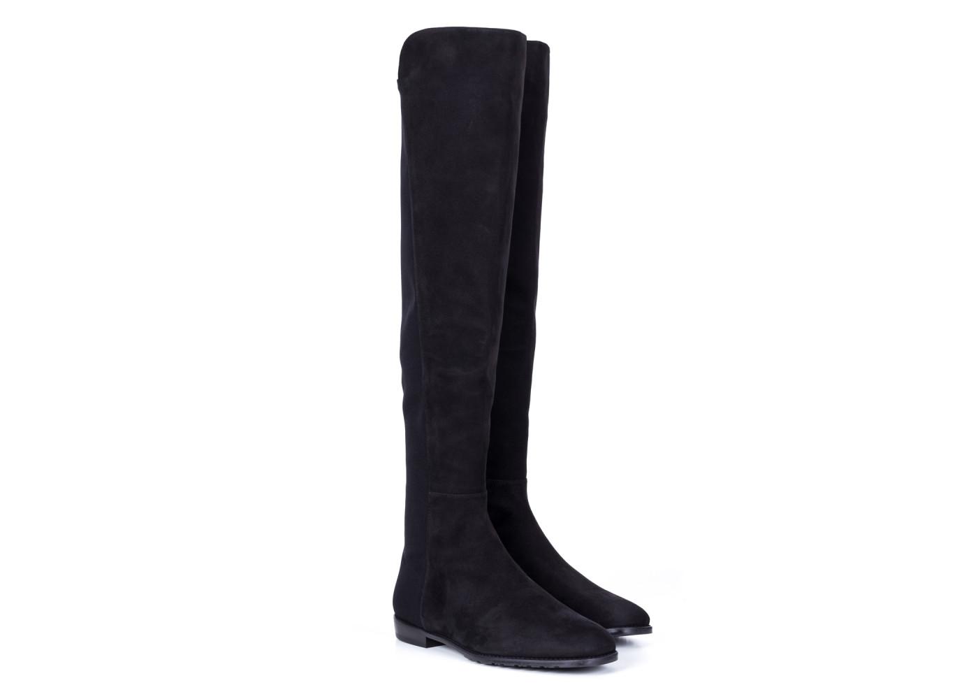 3adff52f88186 czarne-zamszowe-kozaki-damskie-z-elastycznym-materialem-stuart-. Kozaki Sergio  Rossi na wysokim obcasie